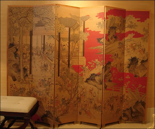 Chinese Painted Silk Screen